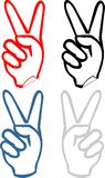 V - gesticulate hand victory sign sticker. Gesticulate hand victory sign V, Victory sticker - set of cartoon vector illustrations isolated on white background Stock Image