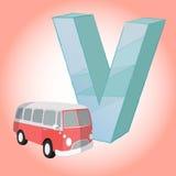 V grande dell'icona di Van Alphabet per qualsiasi uso Vettore eps10 Immagine Stock