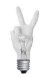 V hand gesture lamp bulb Stock Photos