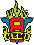 V8 Hemi engine emblem with flames Stock Image