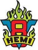 V8 Hemi motoremblem med flammor Fotografering för Bildbyråer