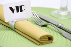 V.i.p place card. V.i.p ,place card on napkin ring Stock Photos