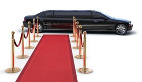 V.I.P. on white. A Limousine Pulling up to a red carpet runway on white Stock Photos