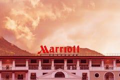 V iew der Fassade Marriott-Hotels stockbilder