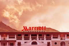 V.iew of the facade of Marriott Hotel. stock images