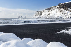 Vík Black Sand Beach and Atlantic Surf Royalty Free Stock Photography