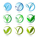 V letter or check mark, verification Eco logo Stock Photography
