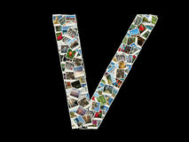 V letter - collage of travel photos Stock Images