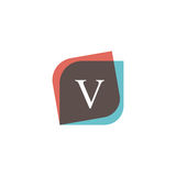 V letter icon retro logo design. Vintage company sign vector des Stock Image