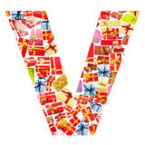 V Letter  made of giftboxes Royalty Free Stock Photography