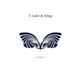 V-letter sign and angel wings.Monogram wing vector logo template Stock Photo