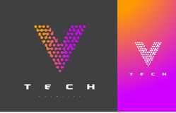 V lettre Logo Technology Dots Letter Design Vector relié Photographie stock