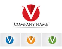 V listów biznesowy logo i symbolu szablon Obrazy Royalty Free