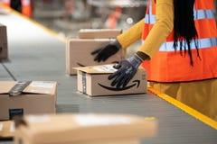 Free Vélizy, FRANCE Sept. 23th 2019 :  Logistics Activity On Amazon Site Stock Photos - 185864213