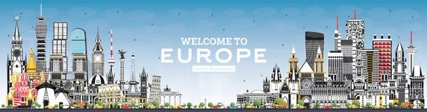 V?lkomnande till Europa horisont med Gray Buildings och bl? himmel vektor illustrationer