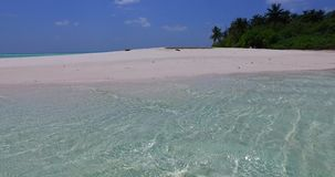 V02008 Maldives beautiful beach background white sandy tropical paradise island with blue sky sea water ocean 4k stock footage