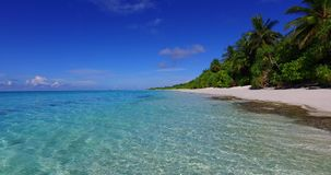 V02176 Maldives beautiful beach background white sandy tropical paradise island with blue sky sea water ocean 4k stock footage