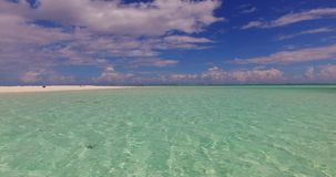 V02670 Maldives beautiful beach background white sandy tropical paradise island with blue sky sea water ocean 4k stock footage