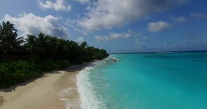 V00646 Maldives beautiful beach background white sandy tropical paradise island with blue sky sea water ocean 4k aerial stock video
