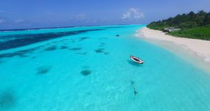 V00072 Maldives beautiful beach background white sandy tropical paradise island with blue sky sea water ocean 4k aerial stock footage