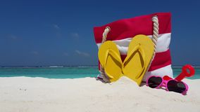 V02461 Maldives beautiful beach background white sandy tropical paradise island with blue sky sea water ocean 4k bag stock footage