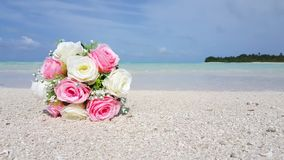 V00569 Maldives beautiful beach background white sandy tropical paradise island with blue sky sea water ocean 4k bouquet Royalty Free Stock Photography