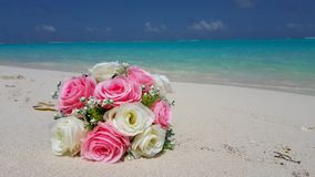 V00727 Maldives beautiful beach background white sandy tropical paradise island with blue sky sea water ocean 4k bouquet Royalty Free Stock Photos