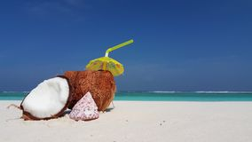 V02849 Maldives beautiful beach background white sandy tropical paradise island with blue sky sea water ocean 4k coconut Royalty Free Stock Images