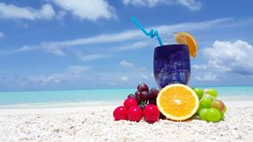 V01083 Maldives beautiful beach background white sandy tropical paradise island with blue sky sea water ocean 4k fruit stock video footage
