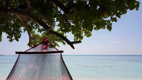 V01547 Maldives beautiful beach background white sandy tropical paradise island with blue sky sea water ocean 4k hammock Royalty Free Stock Photo