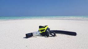 V02933 Maldives beautiful beach background white sandy tropical paradise island with blue sky sea water ocean 4k yellow stock footage