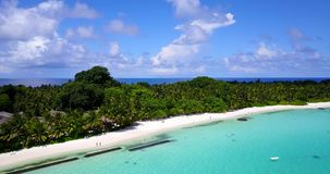 V08693 maldives tropical island and blue sea with drone aerial flying view on a beach with white sand and beautiful sky. Maldives tropical island and blue sea stock video