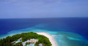 V08847 maldives tropical island and blue sea with drone aerial flying view on a beach with white sand and beautiful sky stock video