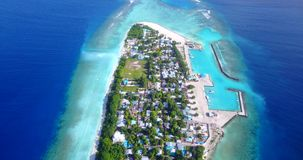 V11538 maldives white sand beach tropical islands with drone aerial flying birds eye view with aqua blue sea water and Stock Images