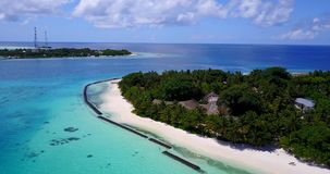 V15346 maldives white sand beach tropical islands with drone aerial flying birds eye view with aqua blue sea water and Royalty Free Stock Photography