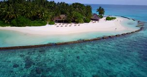 V14745 maldives white sand beach tropical islands with drone aerial flying birds eye view with aqua blue sea water and Stock Images