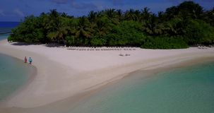 V13420 maldives white sand beach tropical islands with drone aerial flying birds eye view with aqua blue sea water and Stock Photo