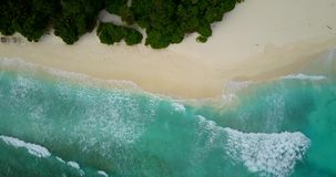 V14614 maldives white sand beach tropical islands with drone aerial flying birds eye view with aqua blue sea water and Royalty Free Stock Photos