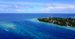 V15419 maldives white sand beach tropical islands with drone aerial flying birds eye view with aqua blue sea water and Stock Photo