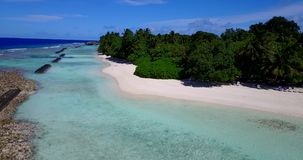 V15253 maldives white sand beach tropical islands with drone aerial flying birds eye view with aqua blue sea water and Stock Photo