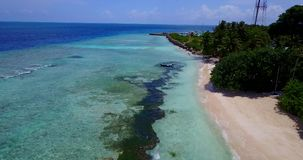 V14615 maldives white sand beach tropical islands with drone aerial flying birds eye view with aqua blue sea water and Stock Photo