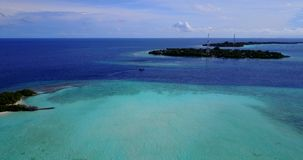 V14813 maldives white sand beach tropical islands with drone aerial flying birds eye view with aqua blue sea water and Stock Images
