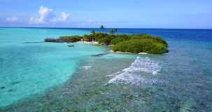 V14470 maldives white sand beach tropical islands with drone aerial flying birds eye view with aqua blue sea water and Stock Photos