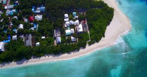 V11589 maldives white sand beach tropical islands with drone aerial flying birds eye view with aqua blue sea water and Stock Images