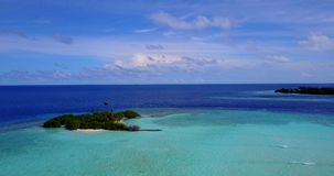 V13365 maldives white sand beach tropical islands with drone aerial flying birds eye view with aqua blue sea water and Stock Image