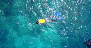 V11855 many people young boys girls snorkeling over coral reef with drone aerial flying view in crystal clear aqua blue. Many people young boys girls snorkeling stock video