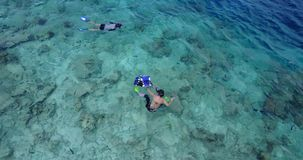 V11791 many people young boys girls snorkeling over coral reef with drone aerial flying view in crystal clear aqua blue. Many people young boys girls snorkeling stock video