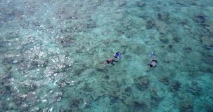 V11812 many people young boys girls snorkeling over coral reef with drone aerial flying view in crystal clear aqua blue. Many people young boys girls snorkeling stock video footage