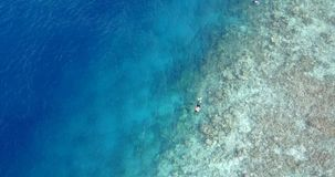 V11906 many people young boys girls snorkeling over coral reef with drone aerial flying view in crystal clear aqua blue. Many people young boys girls snorkeling stock footage