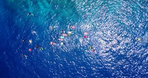 V11828 many people young boys girls snorkeling over coral reef with drone aerial flying view in crystal clear aqua blue. Many people young boys girls snorkeling Stock Photo